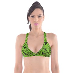 Nature Print Pattern Plunge Bikini Top