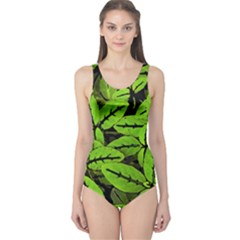 Nature Print Pattern One Piece Swimsuit