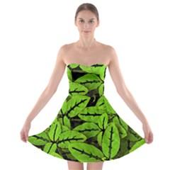 Nature Print Pattern Strapless Bra Top Dress