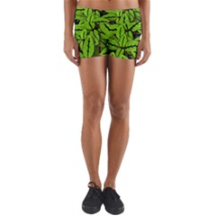 Nature Print Pattern Yoga Shorts
