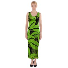 Nature Print Pattern Fitted Maxi Dress