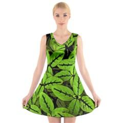 Nature Print Pattern V Neck Sleeveless Skater Dress