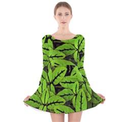 Nature Print Pattern Long Sleeve Velvet Skater Dress