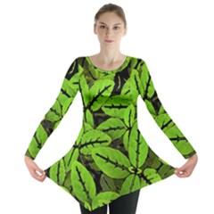 Nature Print Pattern Long Sleeve Tunic