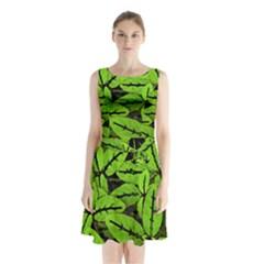 Nature Print Pattern Sleeveless Waist Tie Chiffon Dress