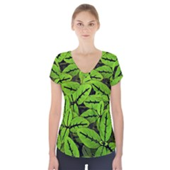 Nature Print Pattern Short Sleeve Front Detail Top