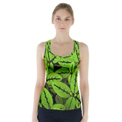 Nature Print Pattern Racer Back Sports Top
