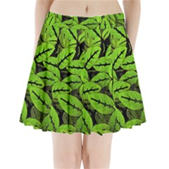 Nature Print Pattern Pleated Mini Skirt