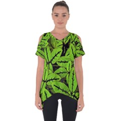 Nature Print Pattern Cut Out Side Drop Tee