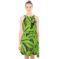 Nature Print Pattern Halter Collar Waist Tie Chiffon Dress