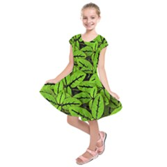 Nature Print Pattern Kids  Short Sleeve Dress