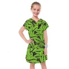 Nature Print Pattern Kids  Drop Waist Dress