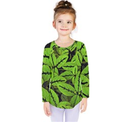 Nature Print Pattern Kids  Long Sleeve Tee