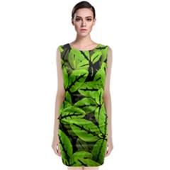 Nature Print Pattern Sleeveless Velvet Midi Dress