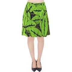 Nature Print Pattern Velvet High Waist Skirt