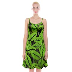 Nature Print Pattern Spaghetti Strap Velvet Dress