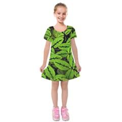 Nature Print Pattern Kids  Short Sleeve Velvet Dress