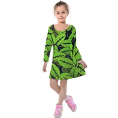 Nature Print Pattern Kids  Long Sleeve Velvet Dress