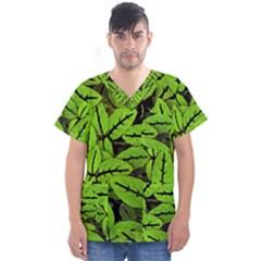 Nature Print Pattern Men s V Neck Scrub Top