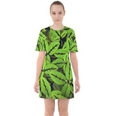 Nature Print Pattern Sixties Short Sleeve Mini Dress