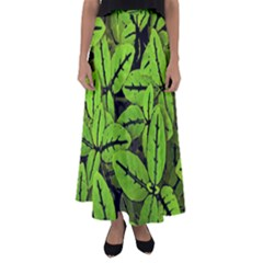 Nature Print Pattern Flared Maxi Skirt
