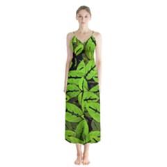 Nature Print Pattern Button Up Chiffon Maxi Dress