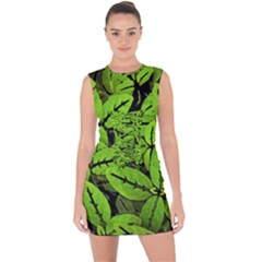 Nature Print Pattern Lace Up Front Bodycon Dress