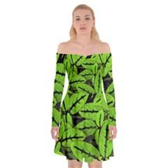 Nature Print Pattern Off Shoulder Skater Dress