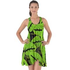 Nature Print Pattern Show Some Back Chiffon Dress