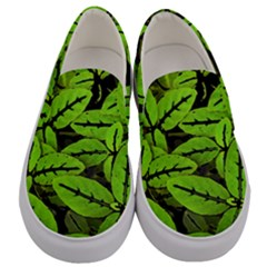 Nature Print Pattern Men s Canvas Slip Ons