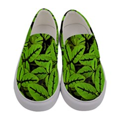 Nature Print Pattern Women s Canvas Slip Ons
