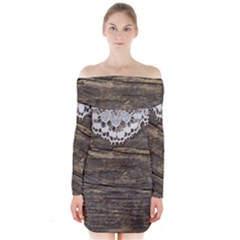 Shabbychicwoodwall Long Sleeve Off Shoulder Dress