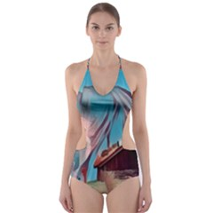 Modern Norway Painting Cut Out One Piece Swimsuit