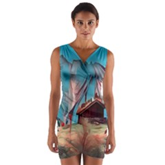 Modern Norway Painting Wrap Front Bodycon Dress