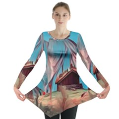 Modern Norway Painting Long Sleeve Tunic