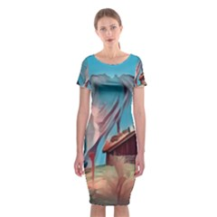 Modern Norway Painting Classic Short Sleeve Midi Dress