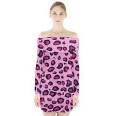 Pink Leopard Long Sleeve Off Shoulder Dress