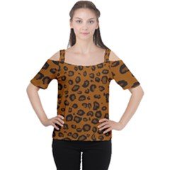 Dark Leopard Cutout Shoulder Tee
