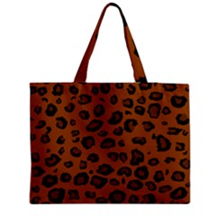 Dark Leopard Zipper Medium Tote Bag