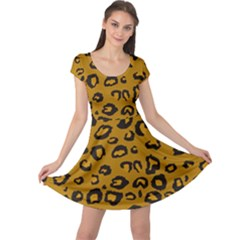 Golden Leopard Cap Sleeve Dress