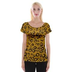 Golden Leopard Cap Sleeve Tops