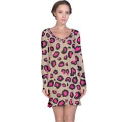 Pink Leopard 2 Long Sleeve Nightdress