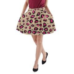 Pink Leopard 2 A Line Pocket Skirt