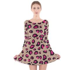 Pink Leopard 2 Long Sleeve Velvet Skater Dress