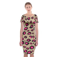 Pink Leopard 2 Classic Short Sleeve Midi Dress