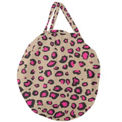 Pink Leopard 2 Giant Round Zipper Tote