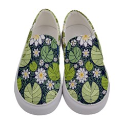 Green & White Lilies & Leafs Women s Canvas Slip Ons