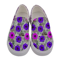 Purple Argyle & Florals Women s Canvas Slip Ons