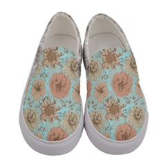 Light Peach & Blue Elegant Flowers Women s Canvas Slip Ons
