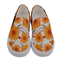 Orange Chrysanthemum Women s Canvas Slip Ons
